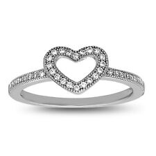 Sterling Silver Open Heart Stackable Ring wit AAA quality CZ, Size 7