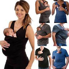Womens Mens Summer Pure Color Baby Carrier Kangaroo Big Pocket Vest T-Shirt Tops