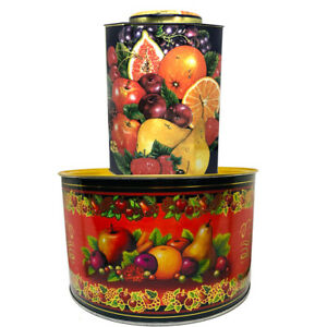 Large Decorative Tins Lot Of 2 Round And Octagonal Fruit Motif French Country