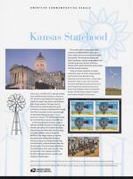 US #863 (44c) Forever Kansas Statehood #4493 USPS Commemorative Stamp Panel
