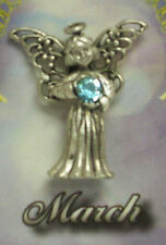 March Guardian Angel Pin Birthstone Antiqued Silver Plated Message Miracles