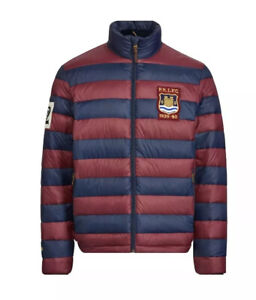 Large POLO RALPH LAUREN Mens packable puffer rugby down jacket coat Wine/Navy