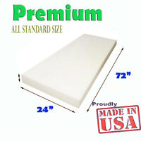 "High Density Seat Upholstery Foam Cushion Replacement  Per Sheet 24"" x 72"" USA"