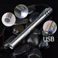 Edelstahl Taschen Mini USB Nachladbare LED Helle Stift Fackel Taschenlampe
