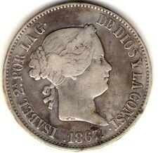 ESPAÑA SPAIN COIN MADRID 1 ESCUDO 1867 *6 POINTS VF+