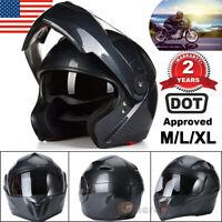DOT BFVV Motorcycle Dual Visor Full Face Helmet Street Carbon Fiber Black M L XL