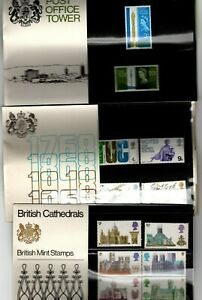 GB 1965 PO Tower, 1968 Anniversaries & 1969 cathedrals presentation packs