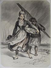FEMME DU POLLET, LA NORMANDIE ILLUSTRÉE. LITHOGRAPHIE DE 1852.