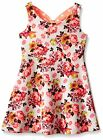 BONNIE JEAN Girls Coral Floral Textured Knit A-line Bow Back Dress Size 14 NWT