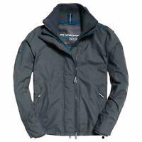 Superdry Mens Technical Pop Zip Windcheater Jacket Coat  Game Grey