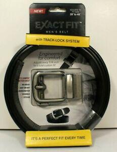 "Exact Fit Men's Belt Black Size 28""- 48"" Tracklock System Adjusts Every 1/4"""