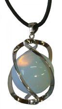 Opal Glas Kugel Anhänger, 30 mm mit Lederband Edelstein Kette milchig blau