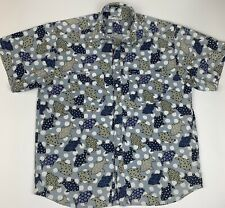 Vtg Guess Mens Xl Shirt Button Front Fish Paisley All Over Print Made in Usa