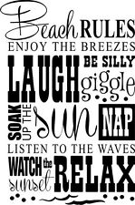 BEACH RULES Vinyl Wall Decal Wall Quote Subway Wall Decals Art Saying Sticker