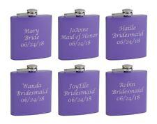 6-Pack Personalized 6oz Bridal Party Hip Flasks, Purple