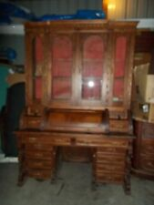 Monumental Victorian Renisance Walnut Four- Door Cylinder Secretary Desk