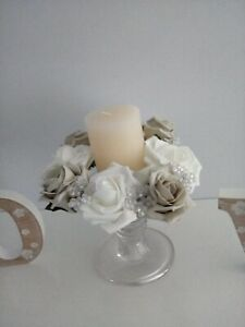 White&silver grey foam rose and AB beads candle ring weddings ,proms , parties