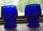 "Set of 2 Vintage Cobalt Blue Georgian Tumblers Thick Glass 3 1/2"" Tall"