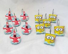 Luau Party Summer Beach Spongebob Squarepants Patrick Shower Curtain Hooks Set
