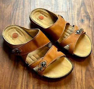 Clarks Unstructured 9M Brown Leather Comfort Sandals Flat Adjustable Slide 38873