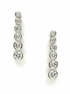 Tiffany & Co Platinum Diamond Jazz Graduated Drop Earrings-Excellent & Authentic