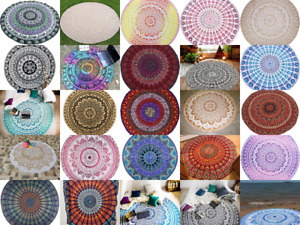 Round Mandala Beach Blanket Tapestry Bohemian Decoration Hippie Table Cloth