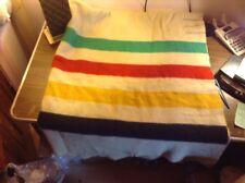 "Vintage Hudson Bay 4 Point Heavy Wool Blanket England 70"" x 84"""