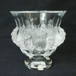 Lalique DAMPIERRE Birds Vines Flower Vase PERFECT Signed France Frosted Sparrows