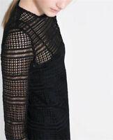 Zara Lattice Sleeve Black Lace Sheer Longsleeve Dress Brand New with tags Size S