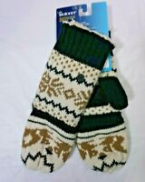 NWT ISOTONER Women's One Size Black Pattern Knit Flip-Top Mittens