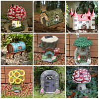 Outdoor Solar LED Fairy Garden Fairy House Garden Gnome Mushroom Garden Ornament