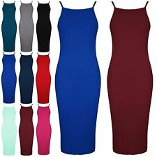 Womens Ladies Square Neck Strappy Camisole Fitted Bodycon Midi Dress Plus Size