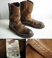 Vintage Red Wing PECOS Pull On Leather Steel Toe Work Boots 12 B fits 10.5 D