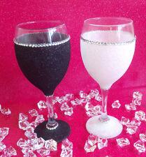 WHITE BLACK  GEMMED RHINESTONE  GLITTER GLASSES WEDDING BIRTHDAY CHRISTMAS GIFT