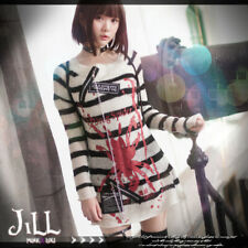 Punk visual Kei cosplay Death Note Amane Misa unisex stripe sweater W JJ0015