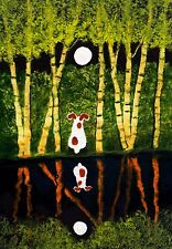 Jack Russell Terrier Parson Dog Folk Art Print Todd Young Bamboo Reflection