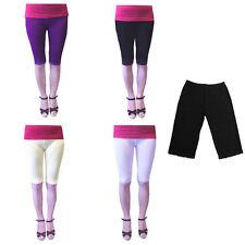 Women Knee Length Elastic Lace Pants Leggings Render Active Shorts Multi-colors