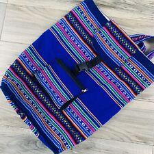 PERUVIAN HANDMADE Backpack LARGE HOBO MANTA BLUE!