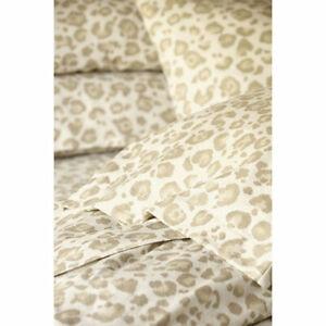 Ballard Designs Animal Print Leopard Flannel Fitted Sheet Set  Queen   (4 SETS)