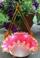 VICTORIAN CASED GLASS PINK & WHITE BASKET W/ CROSSOVER AMBER HANDLES & CREST