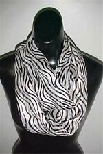Black/White Print Infinity Circle Scarf Lurex Stripe #732 by Isabella New