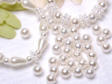 T262 White Pearl Beads Round Shape Wedding Dress Making 6mm 100pcs