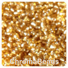 100g GOLD SILVER-LINED glass seed beads - choose size 6/0, 8/0, 11/0 (4, 3, 2mm)
