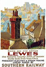Art ad Lewes Sur Ferrocarril Carril viajar cartel impresión