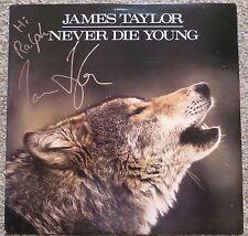 JAMES TAYLOR Never Die Young SIGNED PROMO GOLD STAMP LP Album AUTOGRAPHED JSA