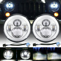"2PCS 7"" Inch LED Hi/Lo Beam Headlight E MARKED for LAND ROVER DEFENDER 90 110"