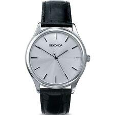Sekonda Hombre Plata Esfera Negra Correa Piel Reloj 3099