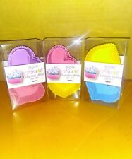 SILICONE HEART CUPCAKE MOLDS 3 SET OF 6 MOLDS