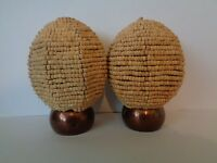 Pair of Wooden Beaded Ball Finials End For 28mm Curtain Pole