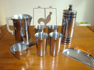 1930's Art Deco Chase Chrome Lot Cocktail Shaker Pitcher Cups News Stand Crumber